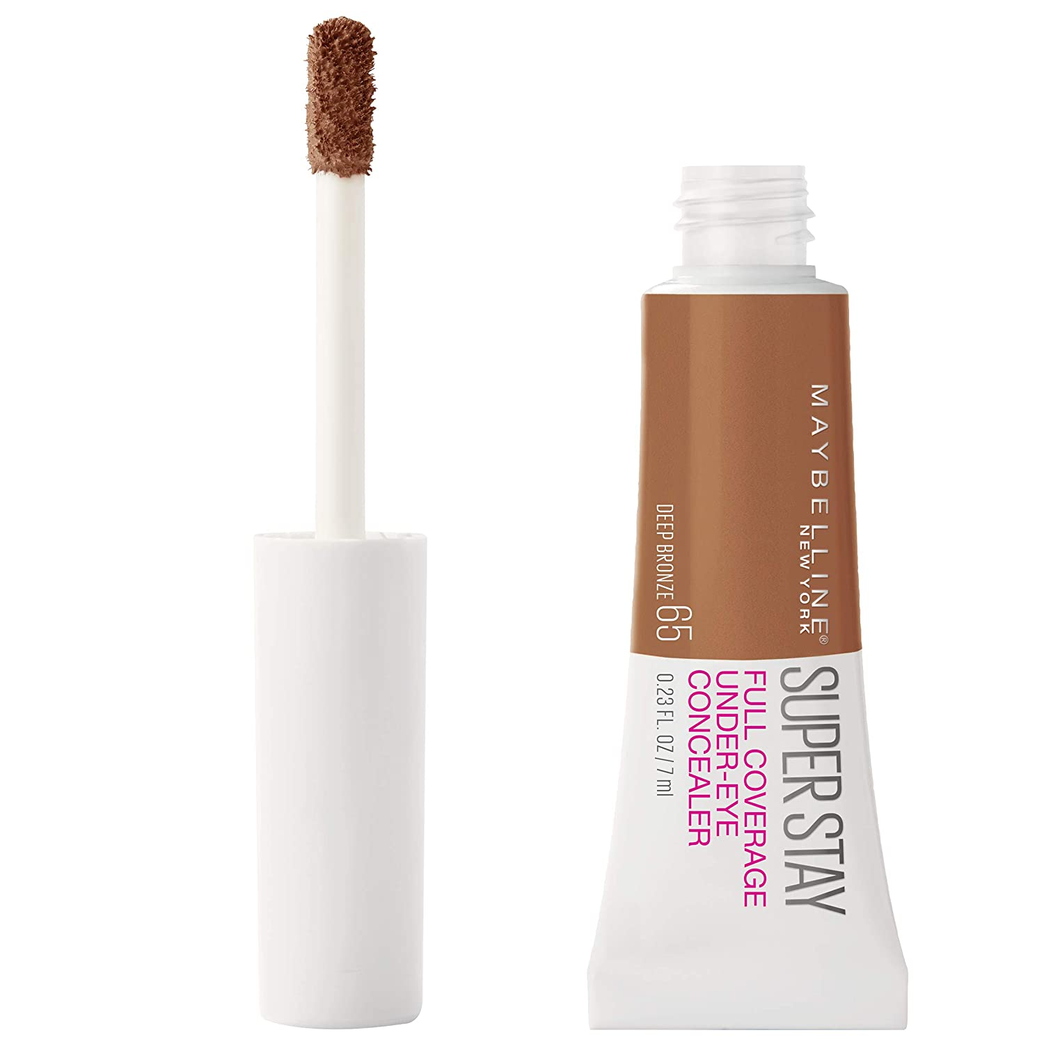 Maybelline Super Stay Super Stay Full Coverage, Brightening, Long Lasting, Under-eye Concealer Liquid Makeup For Up To 24H Wear, With Paddle Applicator, Deep Bronze, 0.23 fl. oz, 65 Deep Bronze