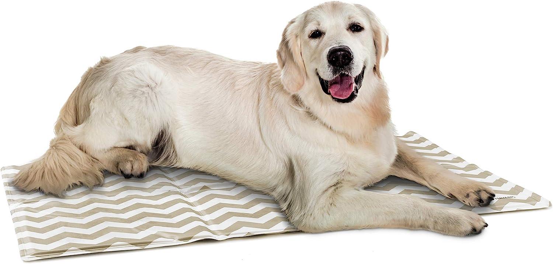 Navaris Alfombra de enfriamiento para Mascotas - Manta refrescante 50 x 90 CM para Perro Gato - Alfombrilla de refrigeración con patrón de zig Zag