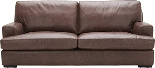 Amazon Brand Stone Beam Lauren Down-Filled Oversized Leather Sofa Couch