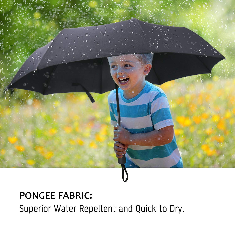 Travel Umbrella Windproof,Compact Umbrella with Auto Open//Close Ergonomic Handle for Easy Carry-Teflon Coating,Simplified Design,Black
