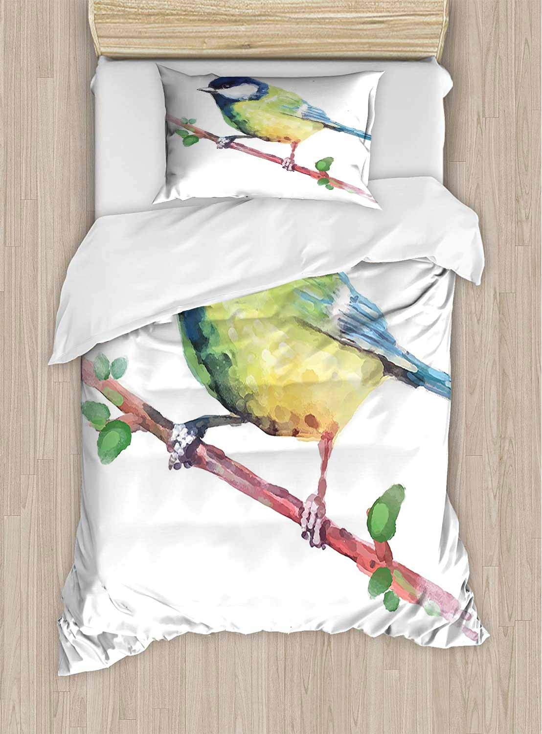 PRUNUSHOME Extra Soft Luxury Hotel Sheets Bird Tree Branch istic Wildlife Image Navy Blue and Light Green Long Durable X-Long Twin