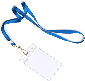 Blue by Stationery King Businesses Cruises /& More Teachers Waterproof /& Dustproof ~ for Moms Tours Events 25 Pack Durably Woven Lanyards /& Vertical ID Badge Holders ~ Premium Quality