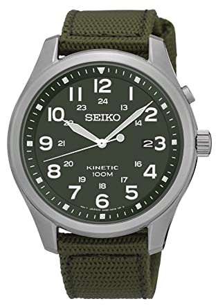 SEIKO SKA725P1,Mens Kinetic,Military Look,Stainless Steel Case,Fabric Strap 100m