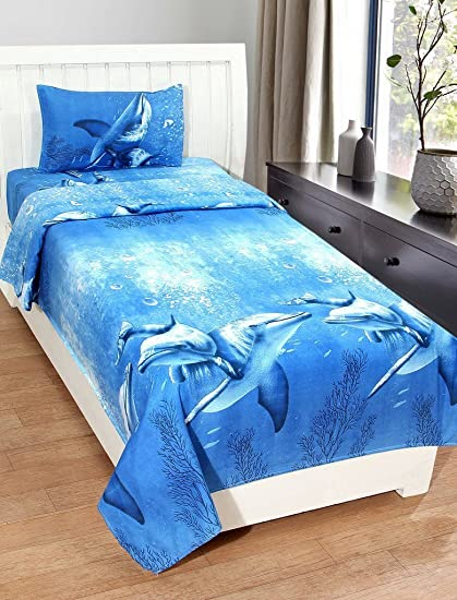 Sky Tex Aqua Cotton Dolphin 140 Tc Single Bed Sheet With 1 Pillow Cover