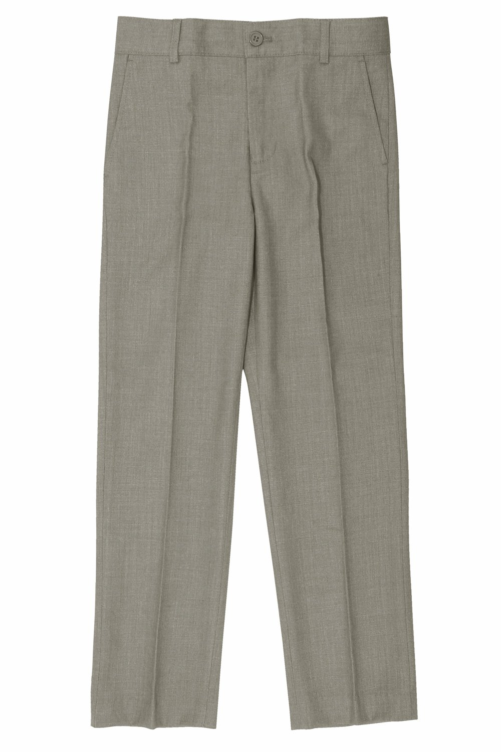 Armando Martillo Big Boys' Slim Fit Formal Dress Pants Linen Look for Summer Events for Communions, Holidays Weddings Choirs Prom Partires, School Uniform and All Special Events Light Gray 10