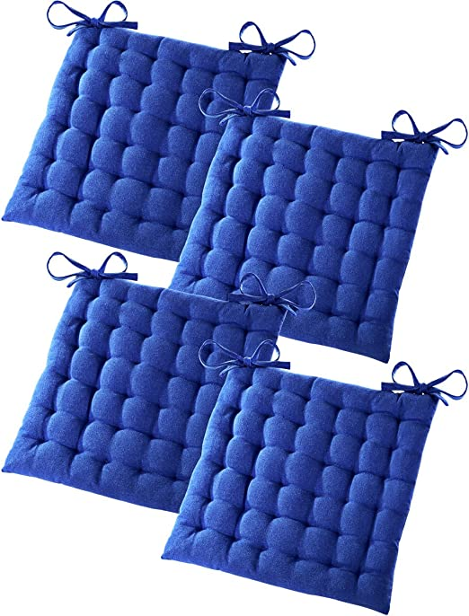 Gräfenstayn® Set de 4 Cojines, Cojines para Silla de 40 x 40 x 5 cm para Interior y Exterior de 100% algodón Acolchado Grueso/cojín para el Suelo (Azul): Amazon.es: Jardín