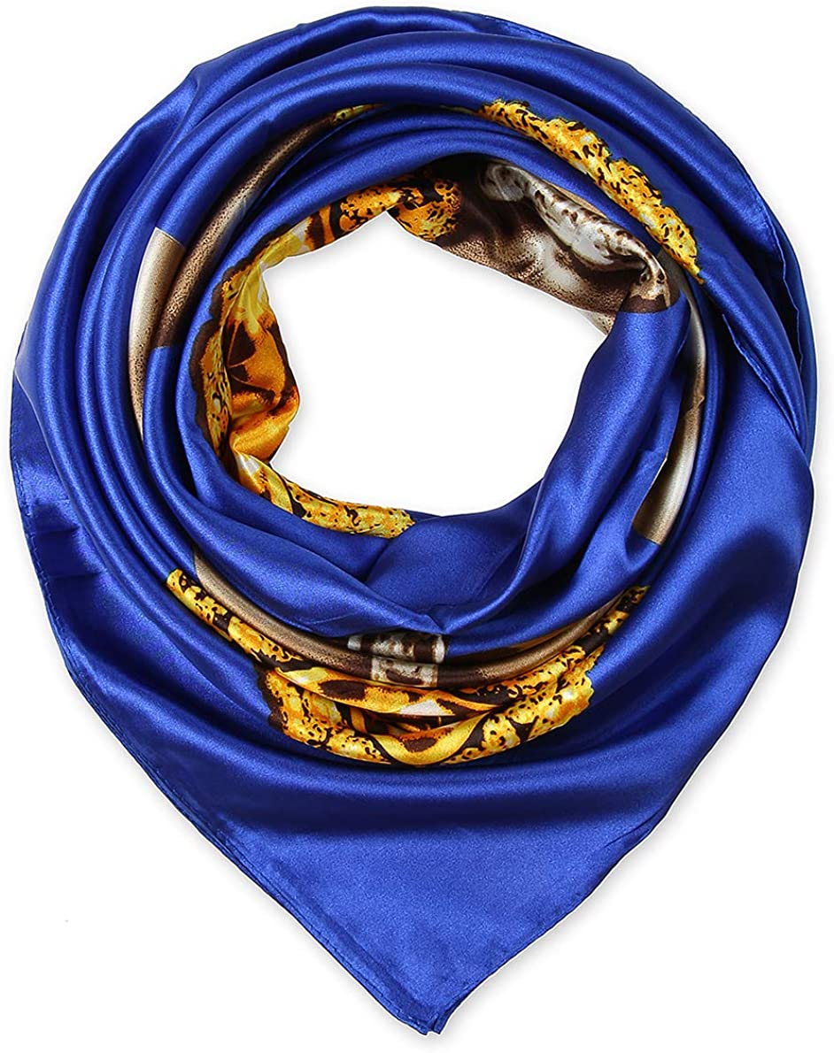 "35"" Silk Feeling 90 cm Square Hair Neck Sleeping Scarf for Women by corciova"
