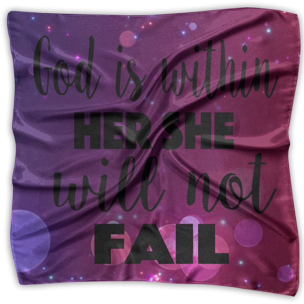 God Is Within Her Womens Square Polyester Satin Neck Head Scarf Scarves Set