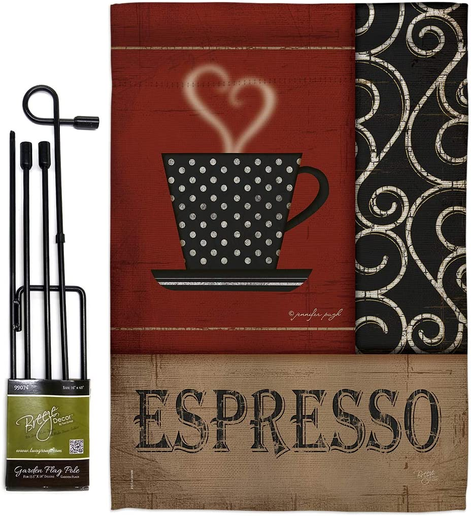 Breeze Decor Coffee & Tea Espresso Garden Flag Set with Stand Beverages Latte Capucchino Expresso Drink Cream Cup Teapot Small Decorative Gift Yard House Banner Double-Sided Made in USA 13 X 18.5