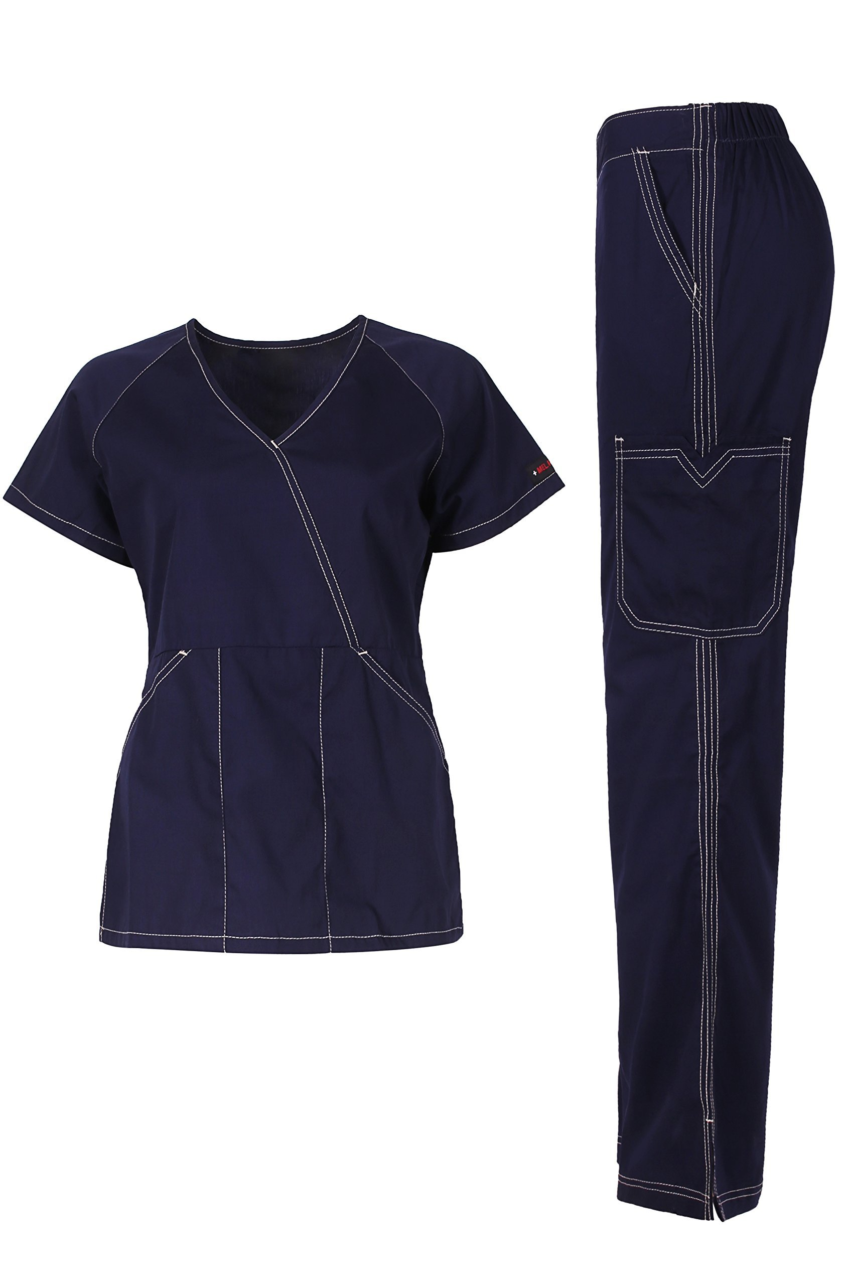 MedPro Women's Medical Scrub Set (Top & Bottom) Navy XL (5666)