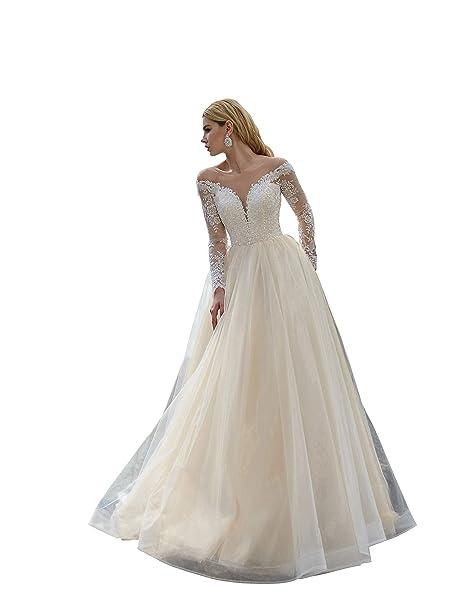 Amazon.com: Vestido de boda con manga larga Gianna, vestido ...