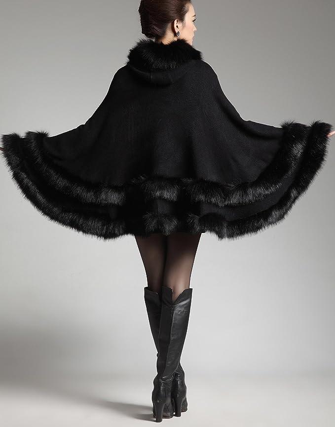 Fur Plus Size Warm Coat Hooded Cape Faux Cloak Fox Wool Blend Winter Women's Trim sChrdxtQ