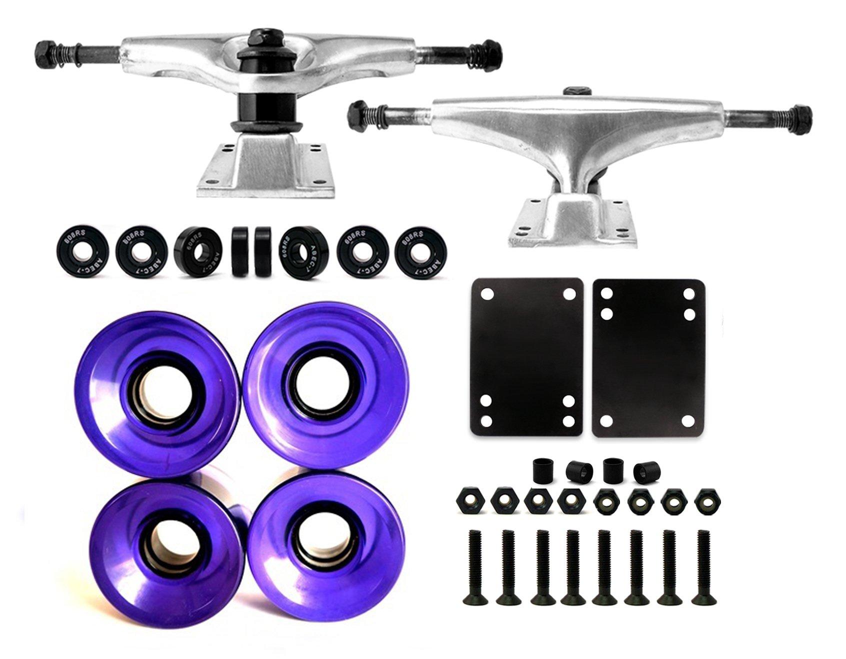VJ Skateboard Truck and Wheel, 5.0 Skateboard Trucks (Silver) w/Skateboard Crusier Wheel 60mm, Skateboard Bearings, Skateboard Screws, Skateboard Riser Pads (Gel Purple) by VJ