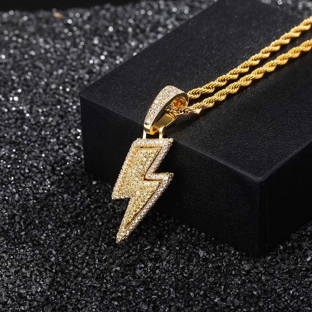 MTPLUM Lightning Bolt Pendant Necklace Jewelry Hip Hop Iced Out CZ Pendant Necklace Twist Chain 18K Gold Plated Zircon with Micropave Simulated Diamond for Men Women