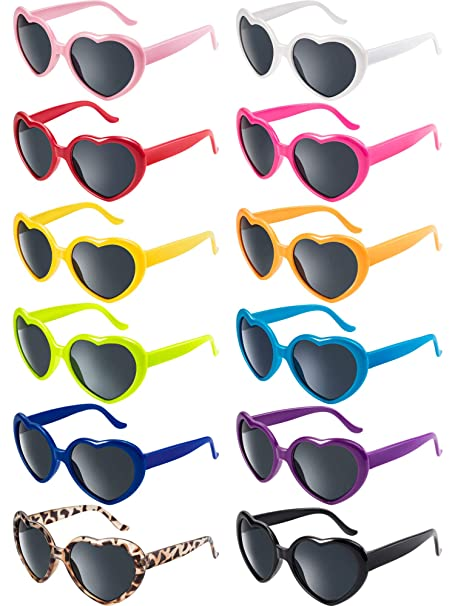 550c165794 Blulu 12 Pieces Neon Colors Heart Shape Sunglasses for Women Party Favors  and Festival (Mixed