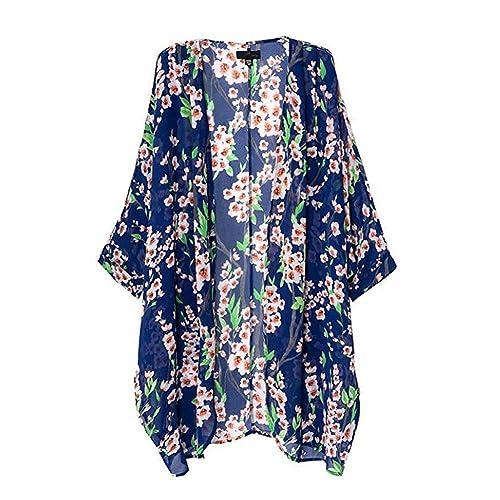 Nuohan – Abrigo – para mujer multicolor Estampado Floral L