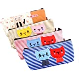 IIOOII Set of 4 Large Capacity Canvas Pen Pencil Stationery Bag Pouch Box Case - Cute Cat Design and Candy Color