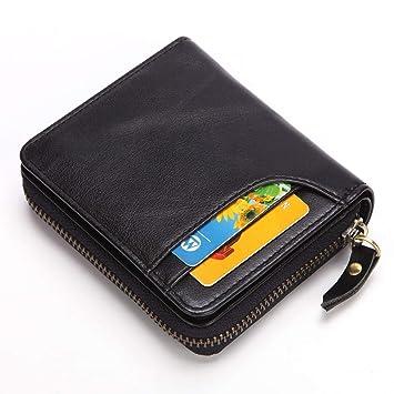 XULONG Hombres Cuero Embrague Aceite Cera Cuero Corto Retro Dinero Clip Cuero Bolsa Bloqueo Tarjeta de crédito Titular Double Fold Monedero,Black: ...