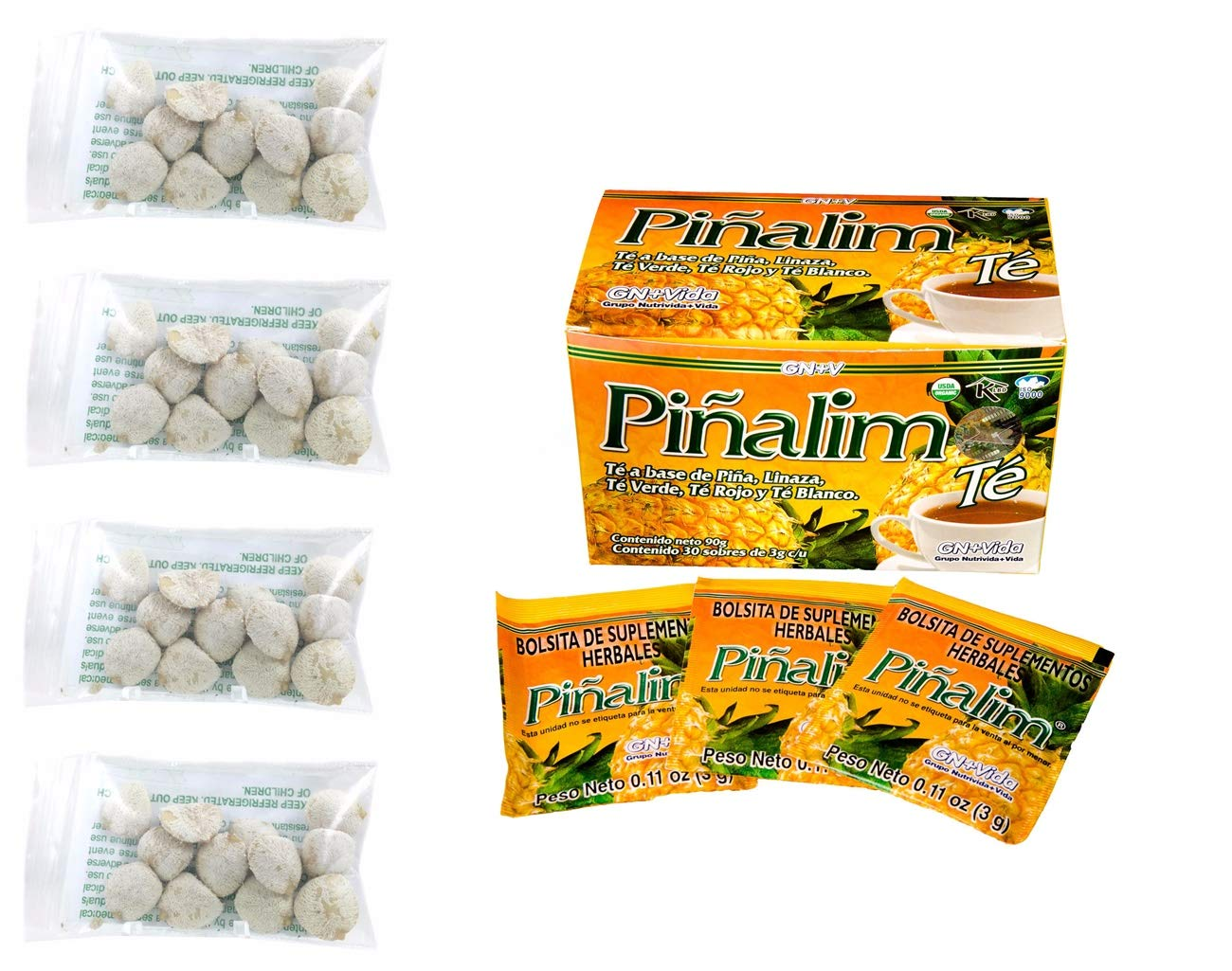4 Pack Indian Nut 48 seeds AND Te Pinalim Tea GN+Vida Weight Loss Tea Diet 30 Day Supply