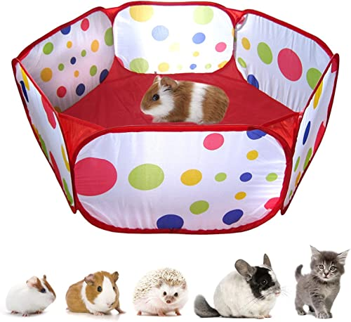 RYPET Guinea Pig Foldable Playpen – Portable Small Animals Playpen Pop Open Outdoor Indoor Exercise Fence for Guinea Pig, Hedgehogs, Hamster, Chinchillas and Rabbits