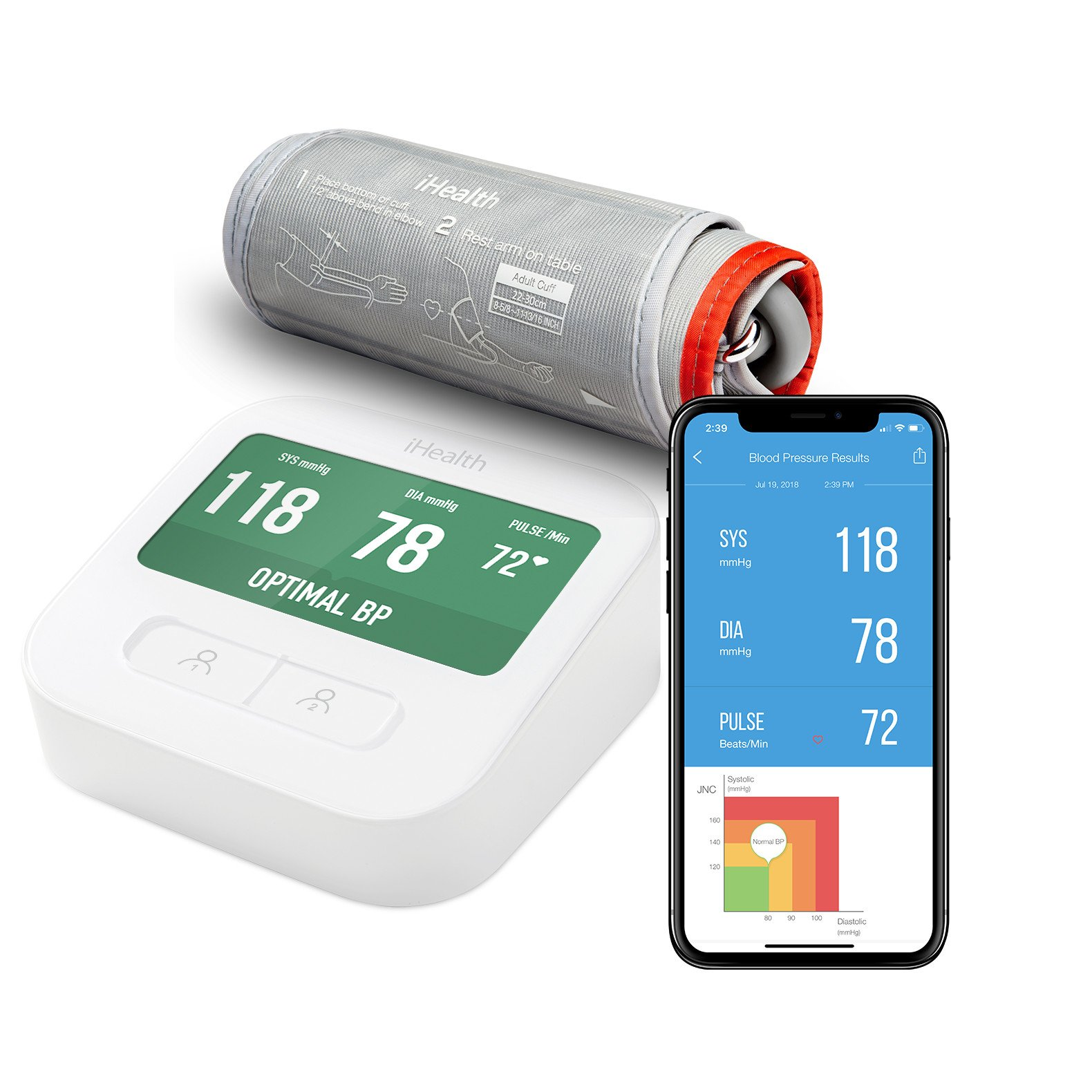 "iHealth Clear Wireless Upper Arm Blood Pressure Monitor with Standard Cuff (8.7-14.2 Inch Circumference),4.3"" LCD Color Display & 2000 Memory,Built-in Rechargeable Battery & Indoor Temperature Sensor"
