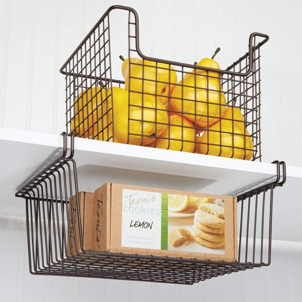 les nettoyants etc chrome panier de rangement suspendu pour le buffet de cuisine ou le placard mDesign rangement de cuisine pour le papier aluminium les sachets de cong/élation