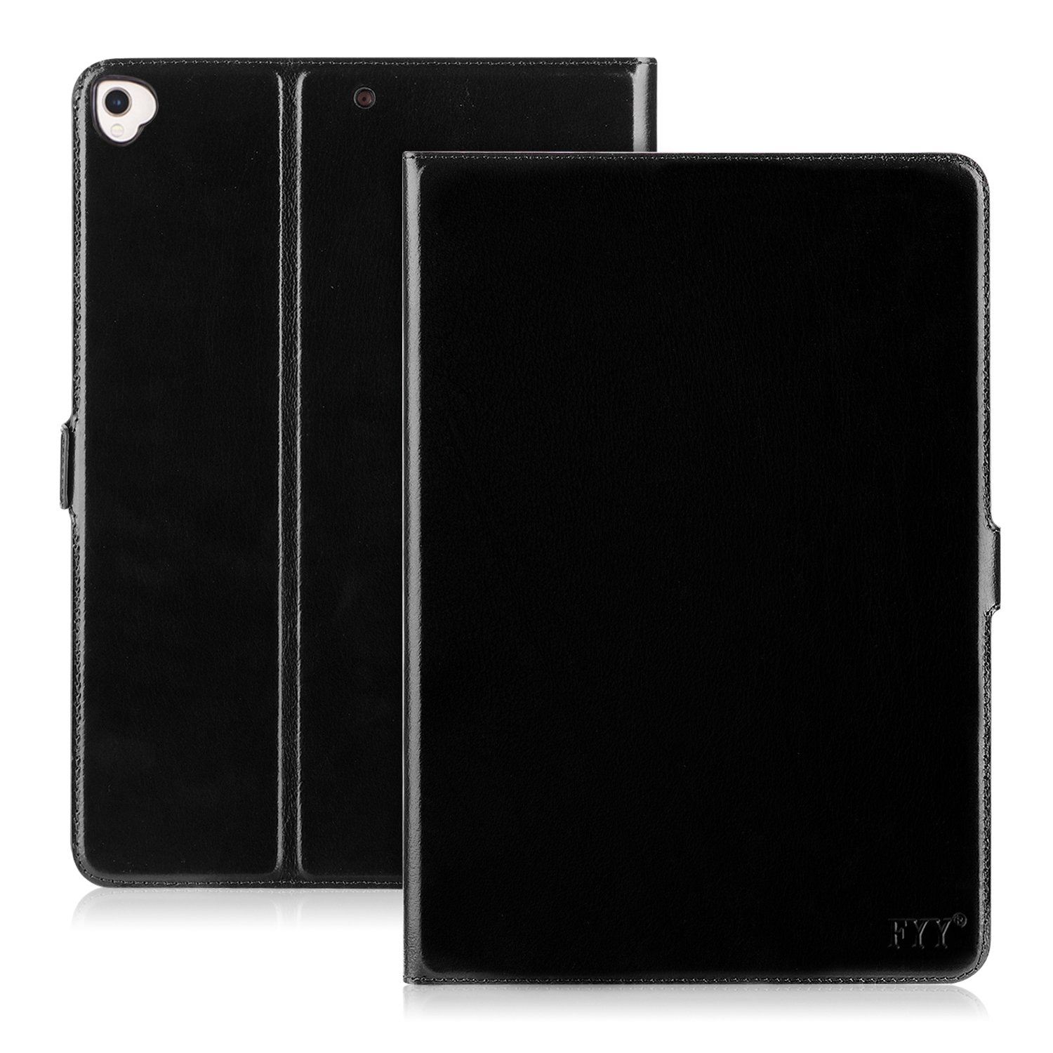 FYY Case for Genuine Leather iPad Pro 12.9 (Compatible with 2017 and 2015 Model), Handmade Case with Kickstand Function for Apple iPad Pro 12.9 (Both 2017 and 2015) Black