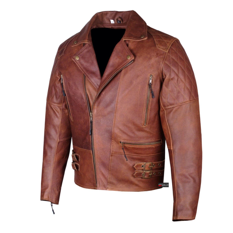 Men's Motorcycle Vintage Distressed Brown Heavy-Duty Leather Armor Jacket M