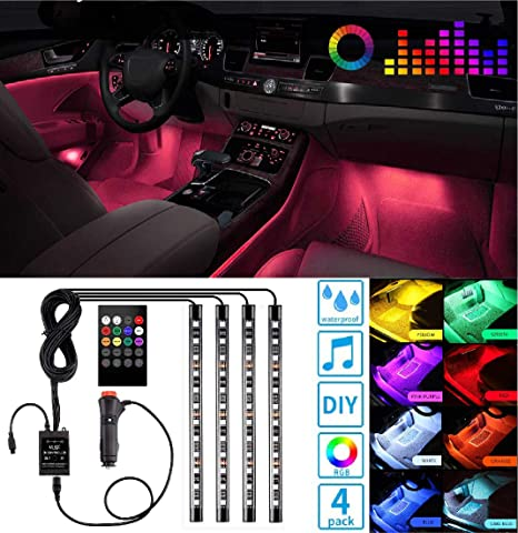 Led Lights For Cars >> Led Interior Car Lights Controller Led Lights For Cars Waterproof Multicolor Music Underglow Lighting Kits With Wireless Control And Sound Active