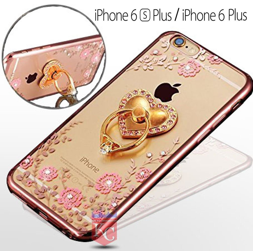 reputable site 03056 f84ae KC Luxury 3D Heart Ring Holder Stand Phone Back Cover for iPhone 6  Plus/iPhone 6s Plus (5.5 inch) (Rose Gold)