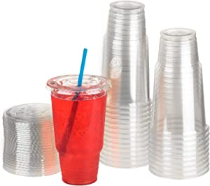 GOLDEN APPLE, 32oz-25sets. Clear Plastic Cups with Flat lids X hole (25cups +25lids) BPA Free