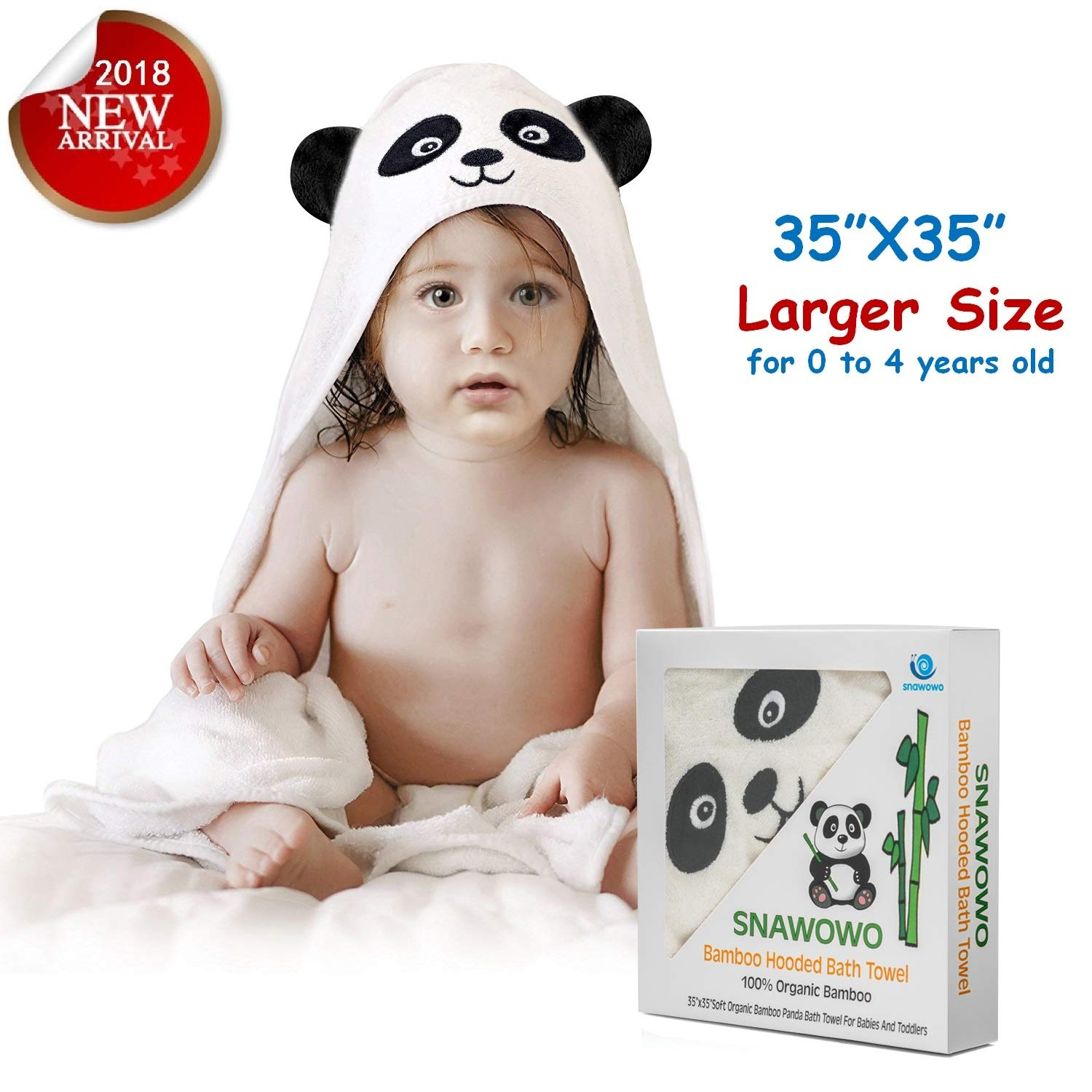 Baby Bath Hooded Towel, Washcloth with Hood, 100% Organic Bamboo, Extra Soft, Absorbent and Hypoallergenic, Perfect Baby Shower Gift, Cute Panda Style, for Newborns Infants Toddlers Kids Boys Girls SNAWOWO