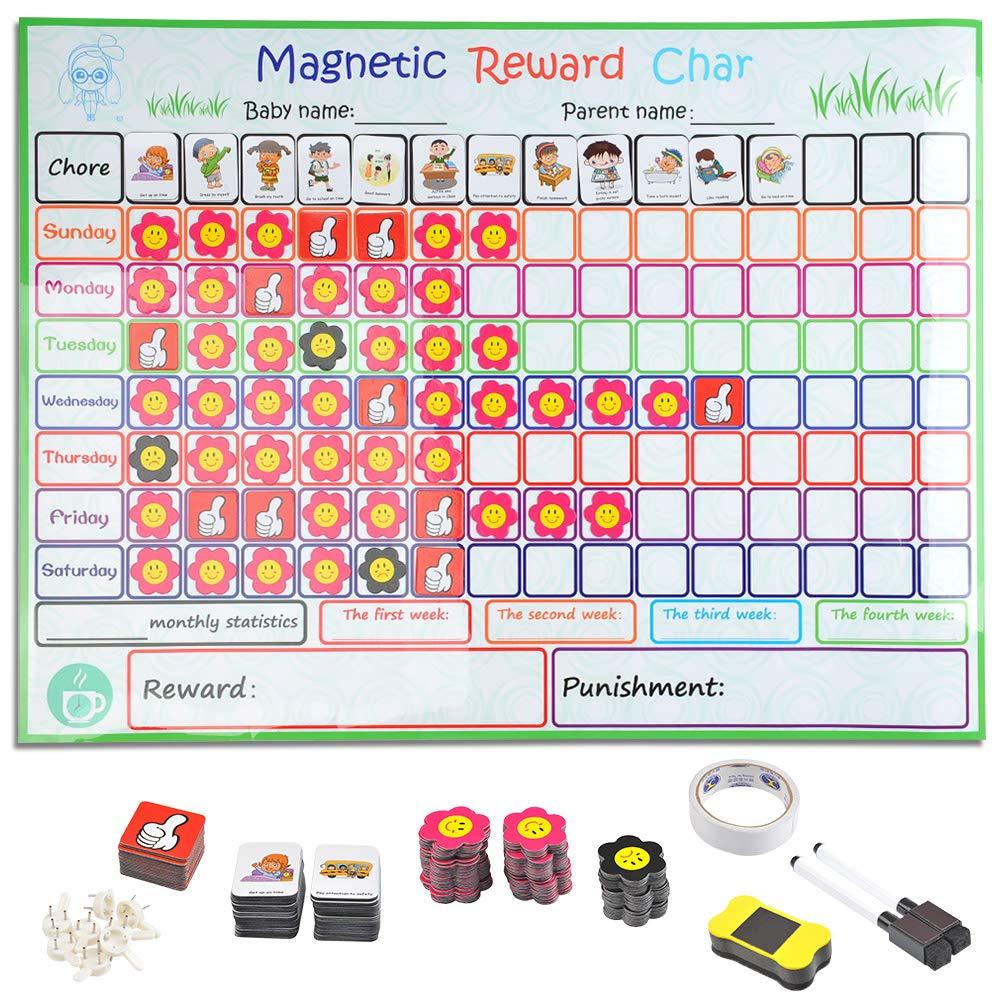 TIMESETL Belohnungstafel fü r Kinder, Magnetisch Belohnungstafel 60 x 45cm mit 50 Tä tigkeiten 130 Magnet Sticker 2 Stifte, perfekt fü r Kleinkinder zum Lernen von Verantwortung und Sauberkeitstraining