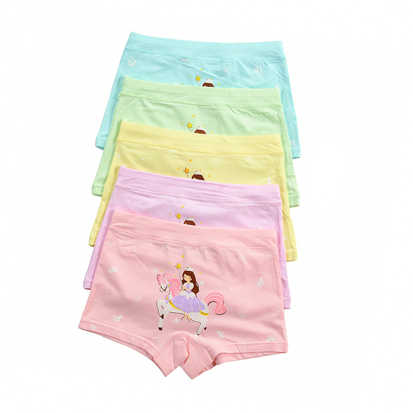 BABYHYY Little Girls Underwear Toddler Hipster Boyshort Kids Briefs Cotton Panties 5 Pack XL(5-7 Years)