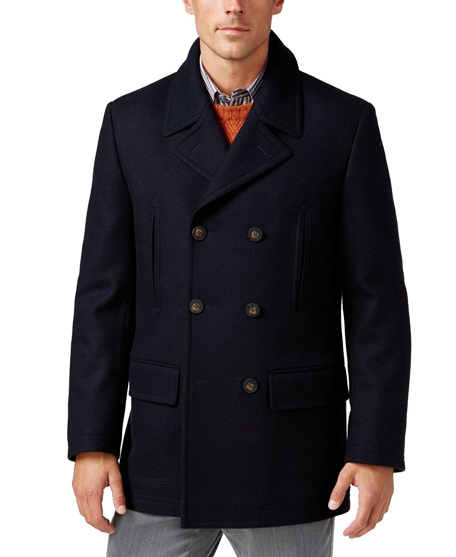 Lauren Ralph Lauren Mens Wool Blend Double-Breasted Pea Coat Navy 44R