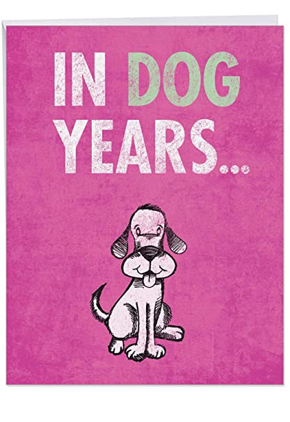 Funny Happy Birthday Greeting Card Large Dog Years With Envelope Big 85 X