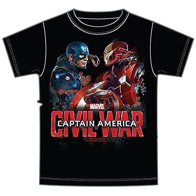 7c75b632b7044 Marvel Avengers Captain America VS Iron Man Civil War Tee Adult Men s T  Shirt- Black