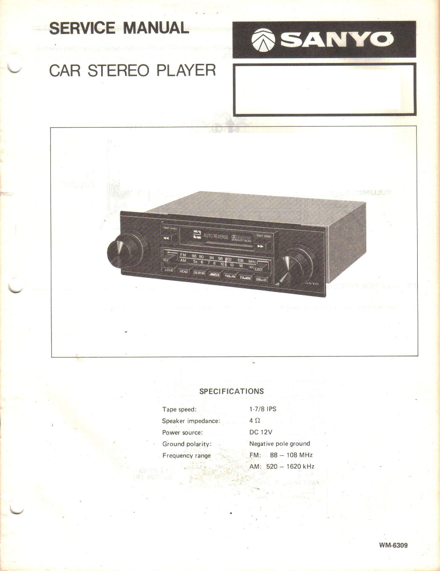 Service Manual for Sanyo FT1001A FT 1001A Car Stereo Player: Sanyo:  Amazon.com: BooksAmazon.com
