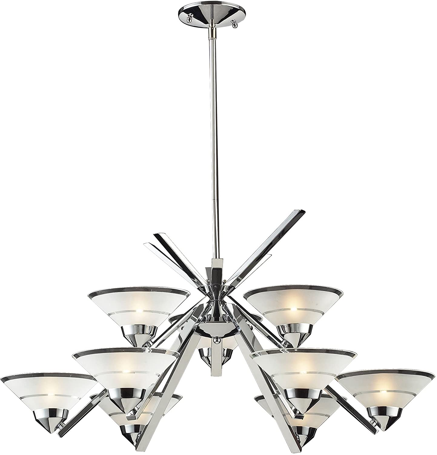 Elk 147663 refraction 9 light chandelier with satin glass shade elk 147663 refraction 9 light chandelier with satin glass shade 31 by 16 inch polished chrome finish light fixtures amazon arubaitofo Images