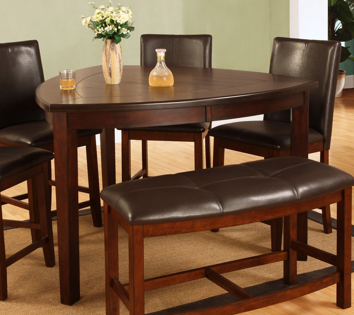 Amazon com best quality furniture d876t modern triangle dining table cherry tables