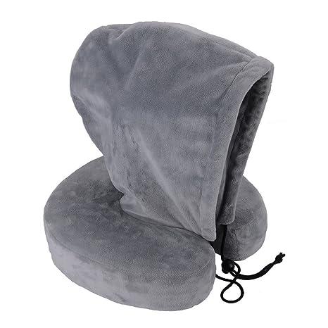 4ebafe8db8 KINDEN con cappuccio Cuscino da viaggio a forma di U memory foam collo  cuscini per dormire