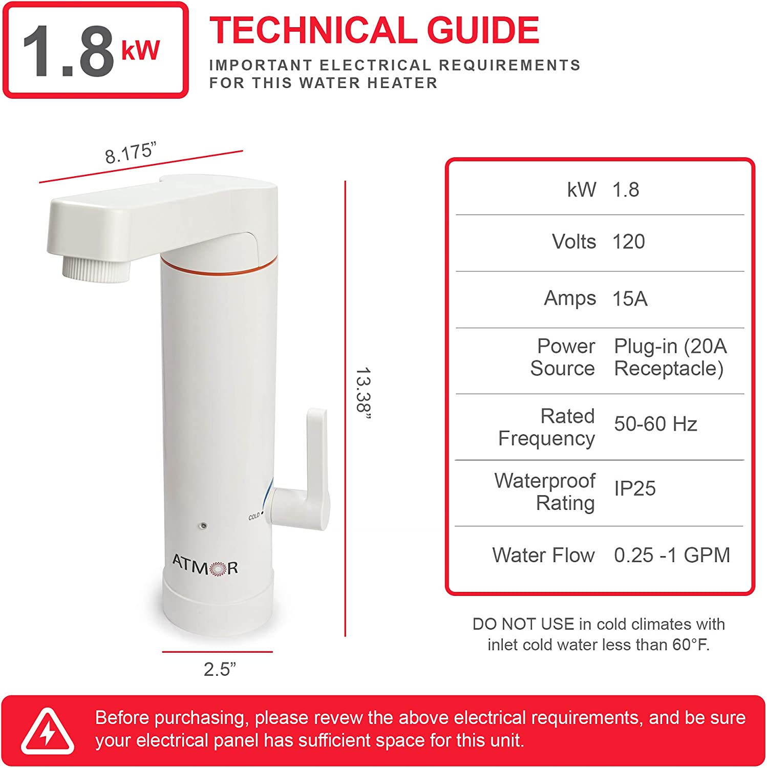 Atmor 1.8kW 2-in-1 Electric Tankless Water Heater//Faucet