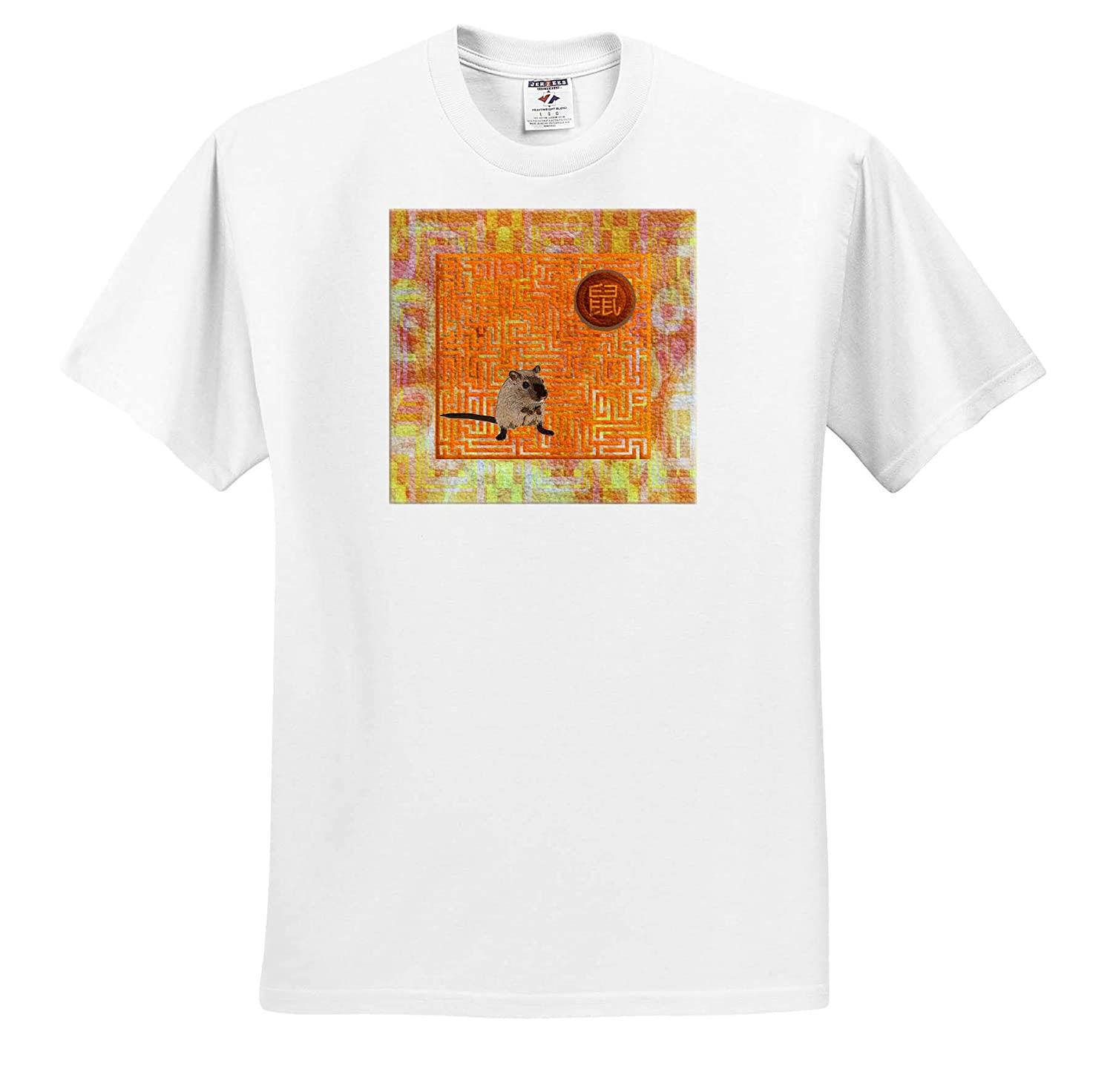 Sign of The Rat in Chinese Yellow Rat on Maze Orange T-Shirts 3dRose Beverly Turner Chinese New Year Design Abstract