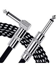 Anpro 3m Gitarren Instrumentenkabel 6.3mm Lärmschutz mit Abgewinkelte Stecker und 1 Standard Klinke für die E-Gitarre, Bassgitarre, Keyboard, EINWEG