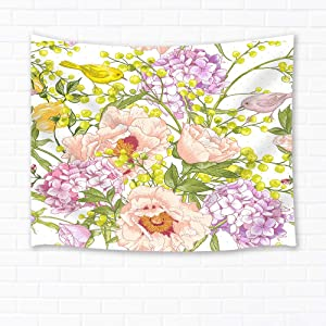 Shocur Floral Tapestry, Purple and Yellow Flower with Birds Tapestry Spring Nature Scenery Tapestry, Wall Hanging Art for Living Room Bedroom Home Decor, 51 X 59 Inches with Pins