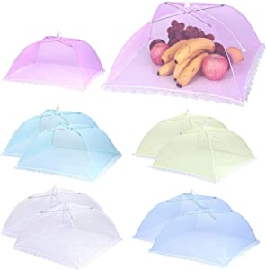 "10 Pack Pop-Up Food Cover 17 x 17"" Reusable and Collapsible Mesh Screen Tents Umbrella Keep Out Flies Mosquitoes Away Food Protector Cover for Party, Picnic, BBQ (5 Colors)"