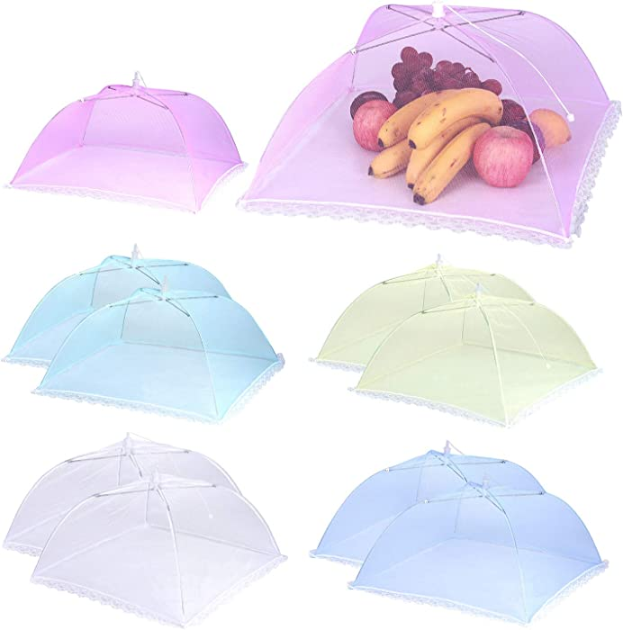 """10 Pack Pop-Up Food Cover 17 x 17"""" Reusable and Collapsible Mesh Screen Tents Umbrella Keep Out Flies Mosquitoes Away Food Protector Cover for Party, Picnic, BBQ (5 Colors)"""