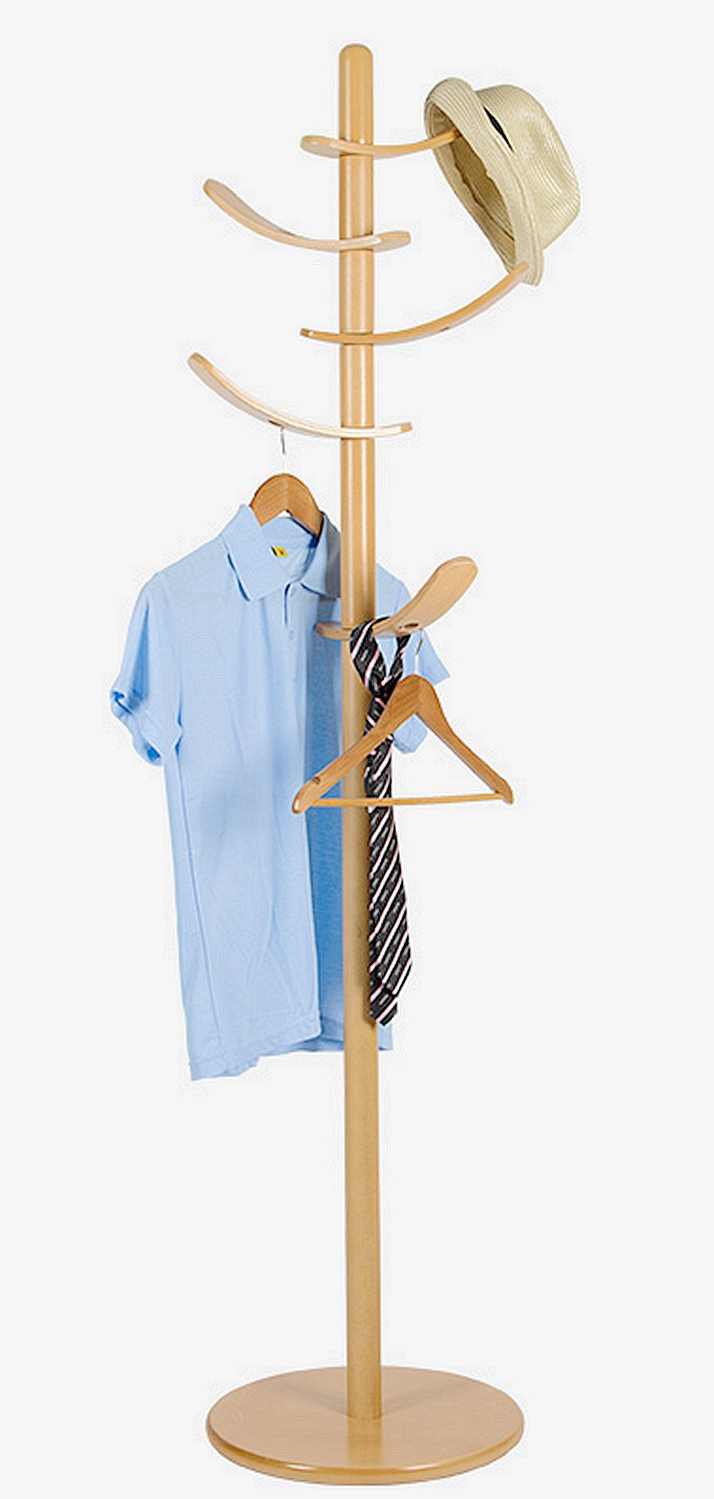 Yaker's collection Solid Wood Coat Rack Sail Rotated 5 Hooks Hall Tree Children Safety Furniture(Nature)