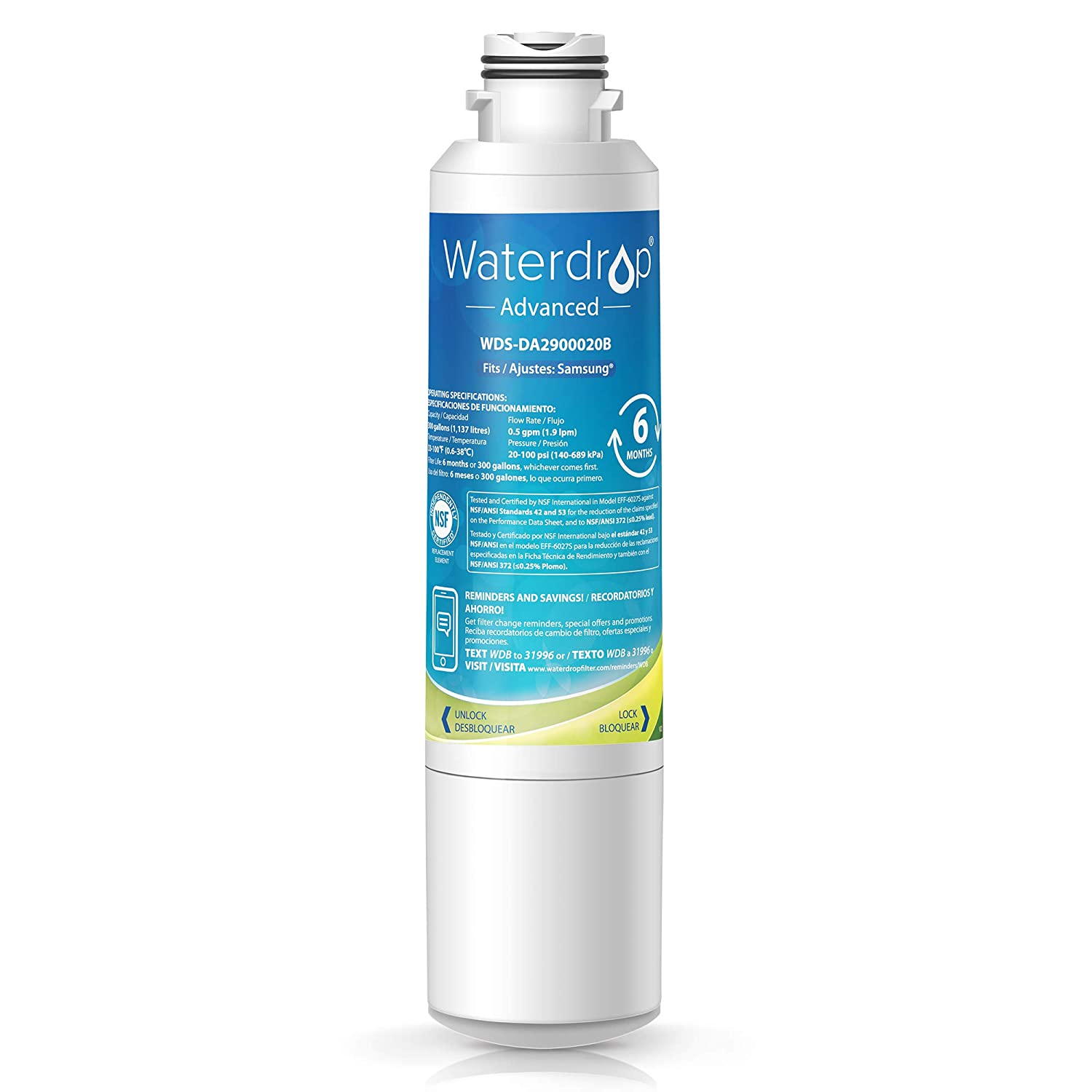 Waterdrop NSF 53&42 Certified DA29-00020B Refrigerator Water Filter, Compatible with Samsung DA29-00020B, DA29-00020A, HAF-CIN/EXP, 46-9101, Advanced