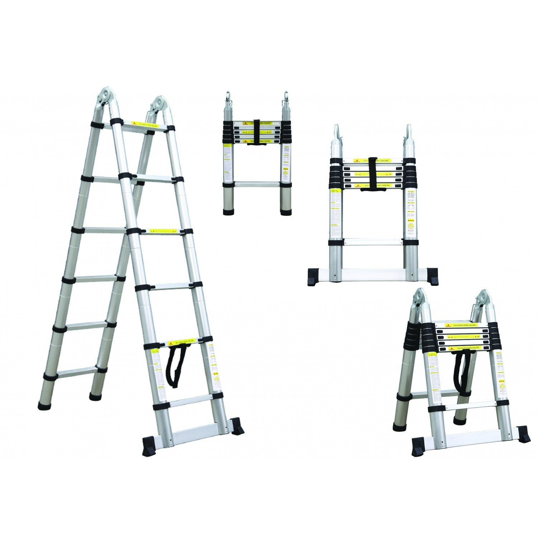 3,8 Metro s Escalera de Tijera Todeco Barra estabilizadora Escalera Multiusos Carga m/áxima: 150 kg EN 131 Est/ándar//Certificaci/ón: EN131